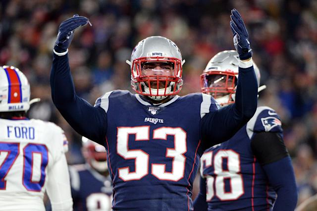 Patriots' Kyle Van Noy celebrates during the first half against the Buffalo Bills in the game at Gillette Stadium on Dec. 21, 2019 in Foxborough, Massachusetts. (Kathryn Riley/Getty Images)