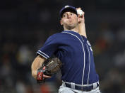 San Diego Padres pitcher Robbie Erlin works against the San Francisco Giants during the first inning of a baseball game Tuesday, Sept. 25, 2018, in San Francisco. (AP Photo/Ben Margot)
