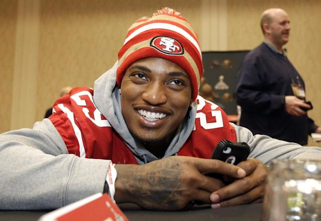 File-This jan. 30, 2013 file photo shows San Francisco 49ers cornerback Chris Culliver talking with teammates during a media availability in New Orleans. Every player is warned not to say anything on media day that will get them in trouble. Culliver failed to heed that advice during a one-on-one interview with Artie Lange. (AP Photo/Mark Humphrey. File)