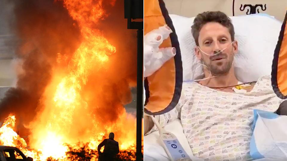 Romain Grosjean can be seen here in hospital after his shocking crash in Bahrain.