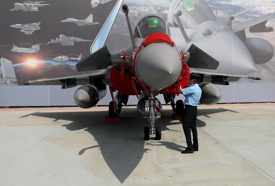 The newly inducted fighter jet Rafale is seen on display during the 88th Air Force Day parade at Hindon Air Force Station in Ghaziabad, India, October 8, 2020. REUTERS/Anushree Fadnavis