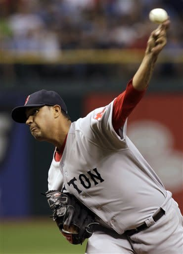 Boston Red Sox starting pitcher Felix Doubront delivers in the first inning to the Tampa Bay Rays during a baseball game on Thursday, May 17, 2012, in St. Petersburg, Fla. (AP Photo/Chris O'Meara)