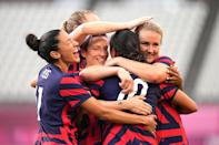 """<p>Event: Women's soccer</p> <p>Quote: Captain Becky Sauerbrunn: """"I can't say more than the bronze means so much. It feels like we really had to earn that thing, and we're very proud.""""</p>"""