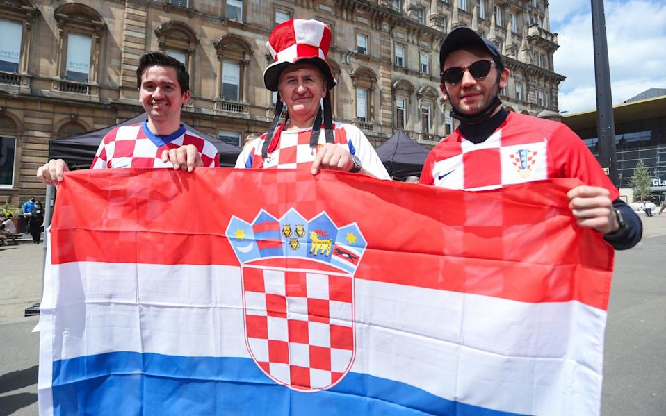 Croatia supporters gather prior to the UEFA Euro 2020 Championship Group D match between Croatia and Scotland at Hampden Park - GETTY IMAGES