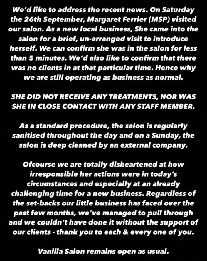 "The owners of Vanilla Salon said they were ""disheartened"" that Margaret Ferrier had visited despite suffering coronavirus symptoms. (Facebook/Vanilla Salon)"