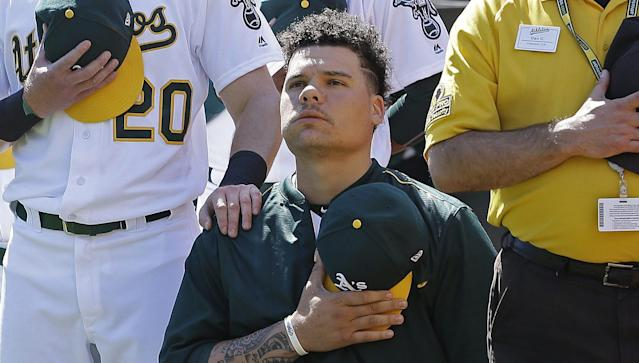 A's catcher Bruce Maxwell was arrested Saturday night in Scottsdale, Arizona for allegedly pulling a gun on a female delivery driver. (AP)