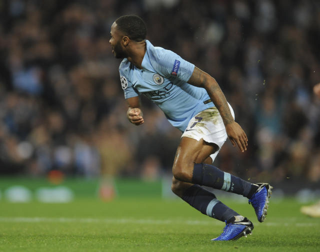 Manchester City midfielder Raheem Sterling celebrates after scoring his side's third goal during the Champions League Group F soccer match between Manchester City and Shakhtar Donetsk at Etihad stadium in Manchester, England, Wednesday, Nov. 7, 2018. (AP Photo/Rui Vieira)