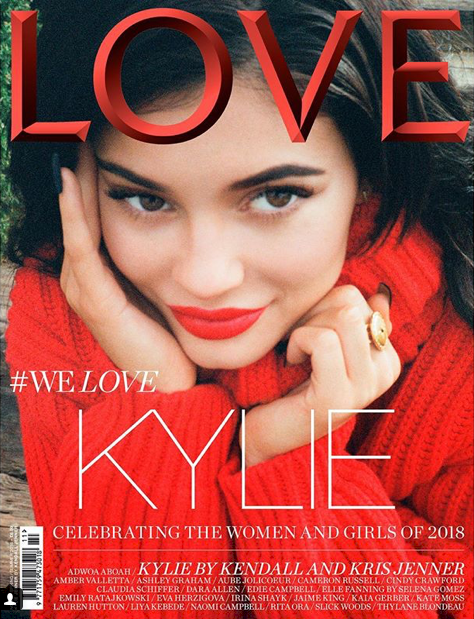 Kylie poses in LOVE magazine's front cover for 2018. Source: LOVE magazine