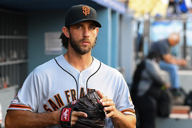 Madison Bumgarner is staying with the San Francisco Giants and remains unfazed by all of the trade deadline drama. (Photo by Brian Rothmuller/Icon Sportswire via Getty Images)