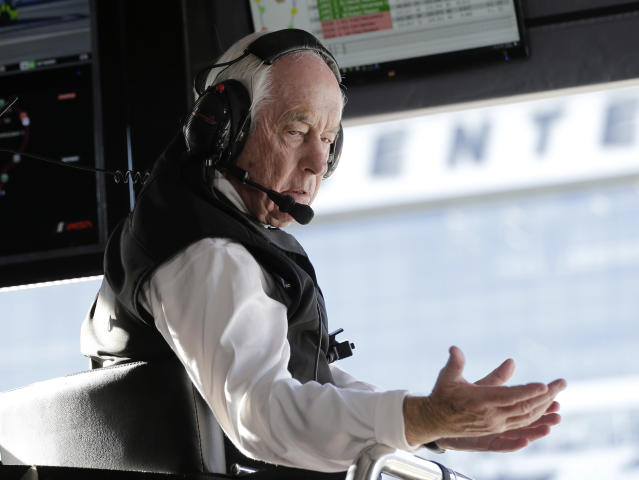 Acura Team Penske owner Roger Penske gestures to a crew member during the Rolex 24 hour auto race at Daytona International Speedway, Saturday, Jan. 25, 2020, in Daytona Beach, Fla. (AP Photo/Terry Renna)