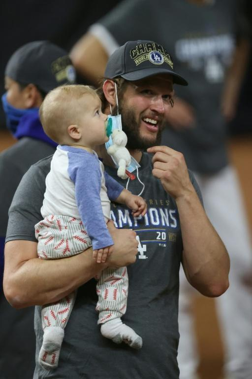 Dodgers pitching icon Clayton Kershaw celebrates after finally winning a World Series crown