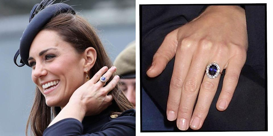 """<p>The Duchess of Cambridge's engagement ring is also a family heirloom, having belonged to William's mother Princess Diana. In fact, the sapphire and diamond ring was the Princess of Wales' engagement ring, bought for her by Prince Charles when he proposed in 1981.</p><p>'I thought it was quite nice because obviously she's not going to be around to share in the fun and excitement of it all so this was my way of keeping her close to it all,' William said <a href=""""https://www.youtube.com/watch?v=U4RcE9G1MhM"""" rel=""""nofollow noopener"""" target=""""_blank"""" data-ylk=""""slk:during their engagement interview."""" class=""""link rapid-noclick-resp"""">during their engagement interview. </a></p><p>'It's beautiful and very special,' Middleton echoed.</p><p><a class=""""link rapid-noclick-resp"""" href=""""https://go.redirectingat.com?id=127X1599956&url=https%3A%2F%2Fwww.johnlewis.com%2Fe-w-adams-18ct-white-gold-sapphire-and-diamond-engagement-ring-0-45ct%2Fp3104216&sref=https%3A%2F%2Fwww.elle.com%2Fuk%2Flife-and-culture%2Fwedding%2Fg28785354%2Froyal-family-engagement-rings-meghan-markle-kate-middleton-queen%2F"""" rel=""""nofollow noopener"""" target=""""_blank"""" data-ylk=""""slk:SHOP SIMILAR"""">SHOP SIMILAR </a> E.W. Adams 18ct White Gold Sapphire and Diamond engagement Ring, John Lewis, £2,100</p>"""