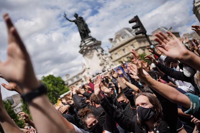 Paris riot police fired tear gas to disperse a largely peaceful but unauthorised protest near Place de la Republique at the weekend. Gatherings of more than 10 people are currently banned in France due to coronavirus containment measures. (Abdulmonam Eassa/Barcroft Media via Getty Images)