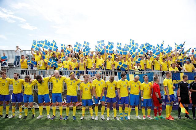 Soccer Football - World Cup - Germany Fans vs Sweden Fans - Sochi, Russia - June 23, 2018 Sweden fans team line up before the match REUTERS/Francois Lenoir