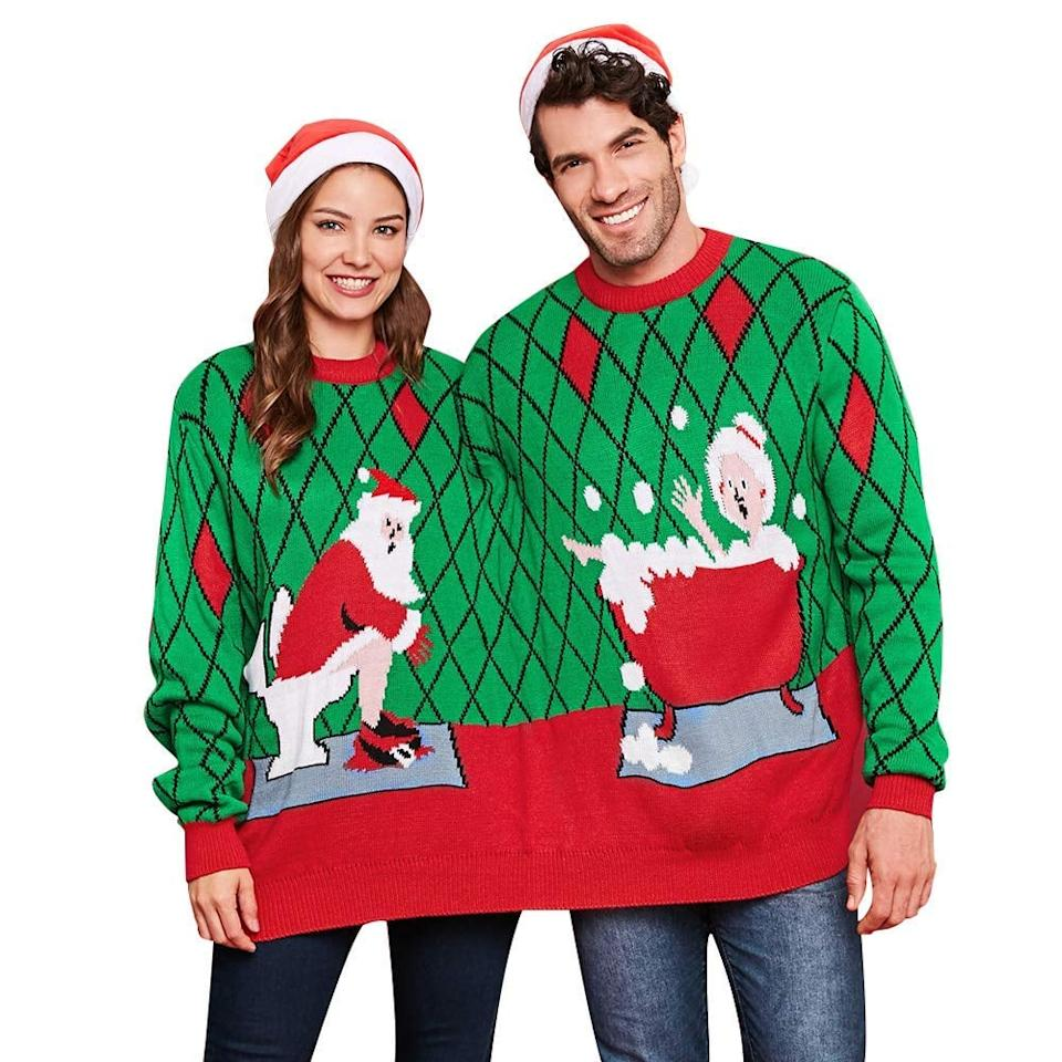 """<p>Warm up your Winter with this <a href=""""https://www.popsugar.com/buy/Two-Person-Funny-Christmas-Sweater-520446?p_name=Two-Person%20Funny%20Christmas%20Sweater&retailer=amazon.com&pid=520446&price=36&evar1=tres%3Auk&evar9=45531367&evar98=https%3A%2F%2Fwww.popsugar.com%2Flove%2Fphoto-gallery%2F45531367%2Fimage%2F45531688%2FMr-Mrs-Claus-Two-Person-Ugly-Christmas-Sweater&list1=shopping%2Csweaters%2Choliday%2Chumor%2Ccouples%2Cchristmas%2Cwinter%2Crelationships%2Cugly%20sweater&prop13=api&pdata=1"""" rel=""""nofollow"""" data-shoppable-link=""""1"""" target=""""_blank"""" class=""""ga-track"""" data-ga-category=""""Related"""" data-ga-label=""""https://www.amazon.com/BeautyGal-Sweater-Pullovers-Christmas-Colormix/dp/B07KG2HBP5/ref=sr_1_47?crid=K9P3LTRGQ5HY&amp;dchild=1&amp;keywords=couples+ugly+christmas+sweater&amp;qid=1574200804&amp;sprefix=couples+ugly+chrst%2Caps%2C206&amp;sr=8-47"""" data-ga-action=""""In-Line Links"""">Two-Person Funny Christmas Sweater</a> ($36). </p>"""