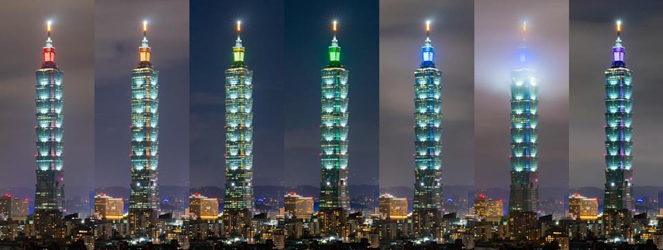 <p>A Reddit user posted a photo collage of the rainbow colored lights of Taipei 101 in the course of a week. (Photo courtesy of @u/MagicT8/ Reddit)</p>