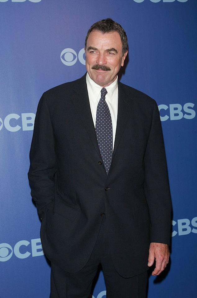 "<a href=""/tom-selleck/contributor/28565"">Tom Selleck</a> (""<a href=""/blue-bloods/show/46570"">Blue Bloods</a>"") attends the 2010 CBS Upfront at The Tent at Lincoln Center on May 19, 2010 in New York City."