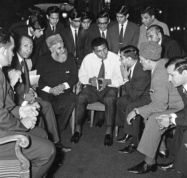 Muhammad Ali speaks at a Muslim event in London in 1966 (Action Images/MSI)
