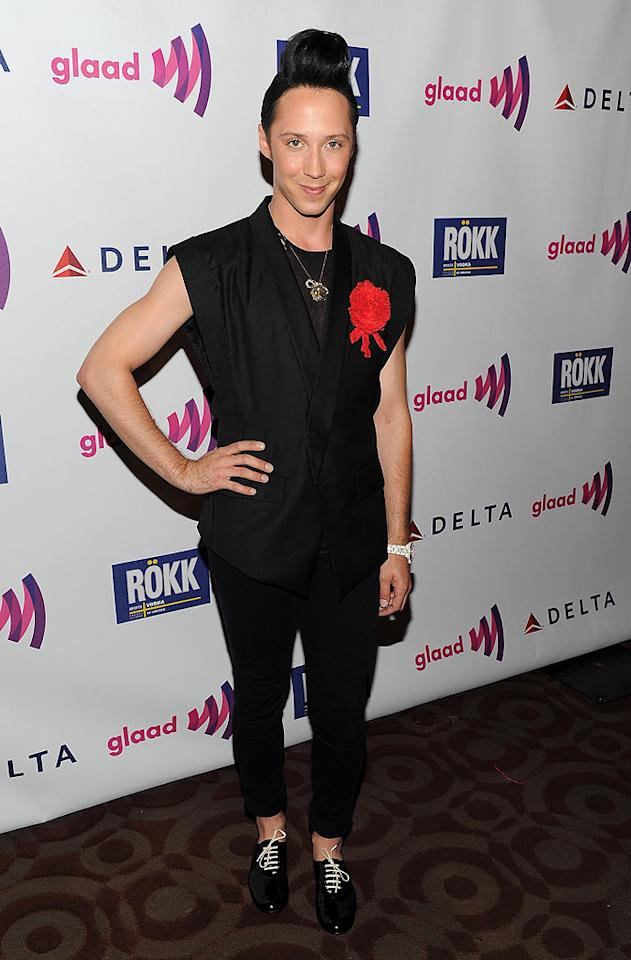 "We'll give him a 6.0 for effort, but the hairdon't and fashion faux pas figure skater Johnny Weir sported to a recent GLAAD gala are worthy of negative scores. Jason Kempin/<a href=""http://www.gettyimages.com/"" target=""new"">GettyImages.com</a> - August 3, 2010"
