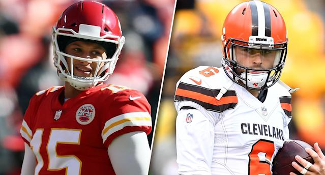 "The battle between <a class=""link rapid-noclick-resp"" href=""/nfl/players/30123/"" data-ylk=""slk:Patrick Mahomes"">Patrick Mahomes</a> and <a class=""link rapid-noclick-resp"" href=""/nfl/players/30971/"" data-ylk=""slk:Baker Mayfield"">Baker Mayfield</a> in Week 9 might echo into the future for years to come."