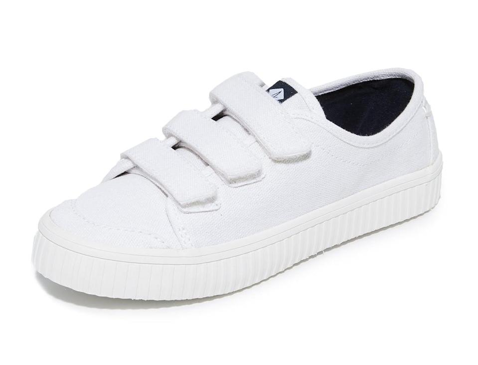 "<p><a href=""https://www.popsugar.com/buy/Sperry-Crest-Velcro-Creeper-Sneakers-370285?p_name=Sperry%20Crest%20Velcro%20Creeper%20Sneakers&retailer=amazon.com&pid=370285&price=40&evar1=fab%3Aus&evar9=44311634&evar98=https%3A%2F%2Fwww.popsugar.com%2Ffashion%2Fphoto-gallery%2F44311634%2Fimage%2F44311735%2FSperry-Crest-Velcro-Creeper-Sneakers&list1=shopping%2Cshoes%2Csneakers%2Choliday%2Cgift%20guide%2Ceditors%20pick%2Csperry%2Cfashion%20gifts%2Cgifts%20for%20women&prop13=api&pdata=1"" class=""link rapid-noclick-resp"" rel=""nofollow noopener"" target=""_blank"" data-ylk=""slk:Sperry Crest Velcro Creeper Sneakers"">Sperry Crest Velcro Creeper Sneakers</a> ($40, originally $60)</p> <p>""You'll very rarely spot me not wearing white sneakers - yes, even in the middle of Winter, I just add thick socks. I love high-tops, but this Velcro pair is just perfect to dash through airport security in."" - Alessandra Foresto, editorial operations director</p>"