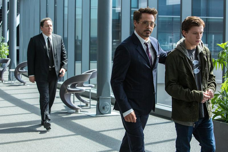 Jon Favreau, Robert Downey Jr., and Tom Holland in 2017's <i>Spider-Man: Homecoming</i>. (Sony Pictures)