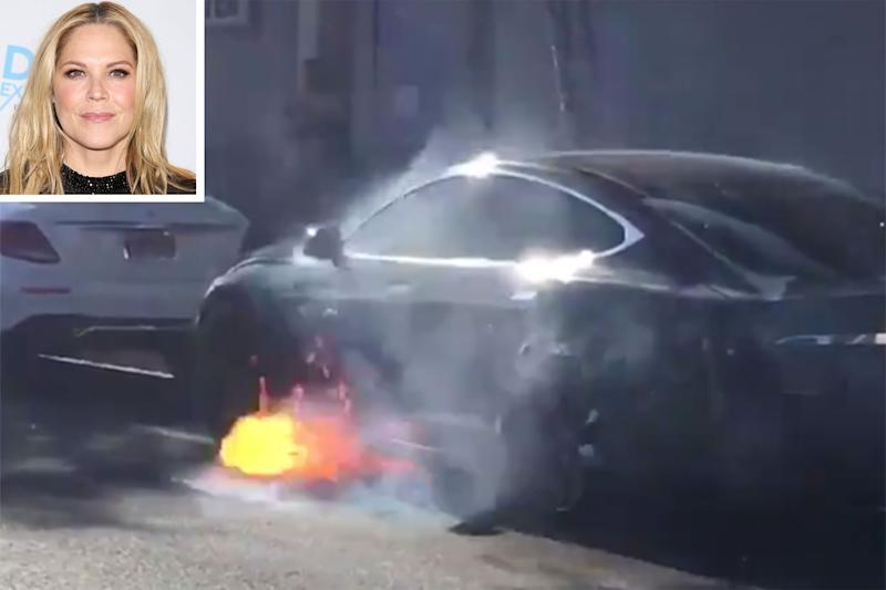 Shocking video shows Tesla bursting into flames on an LA street