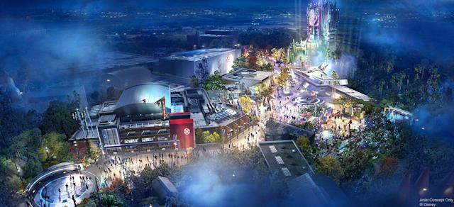 Concept art for the Marvel-themed section of Disneyland, Avengers Campus (Photo: Disneyland Resorts)