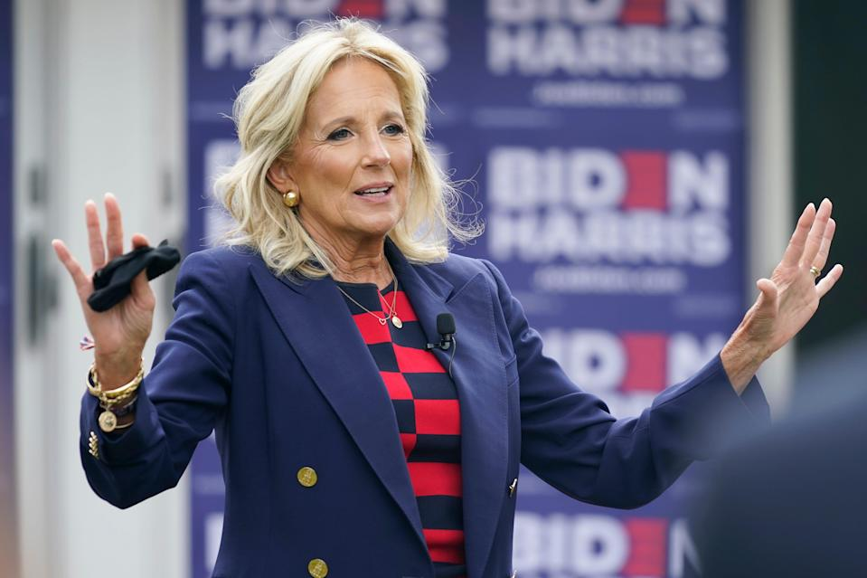 Jill Biden on Sept. 24, 2020, during a listening session with military families in Norfolk, Va.