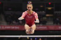 Grace McCallum competes on the uneven bars during the women's U.S. Olympic Gymnastics Trials Sunday, June 27, 2021, in St. Louis. (AP Photo/Jeff Roberson)