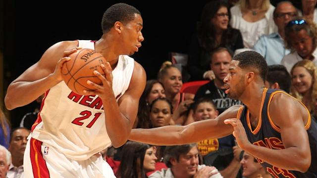 "<a class=""link rapid-noclick-resp"" href=""/nba/players/4764/"" data-ylk=""slk:Hassan Whiteside"">Hassan Whiteside</a> (left) and <a class=""link rapid-noclick-resp"" href=""/nba/players/4884/"" data-ylk=""slk:Tristan Thompson"">Tristan Thompson</a> (right) are battling for All-Star positioning. (Getty Images)"