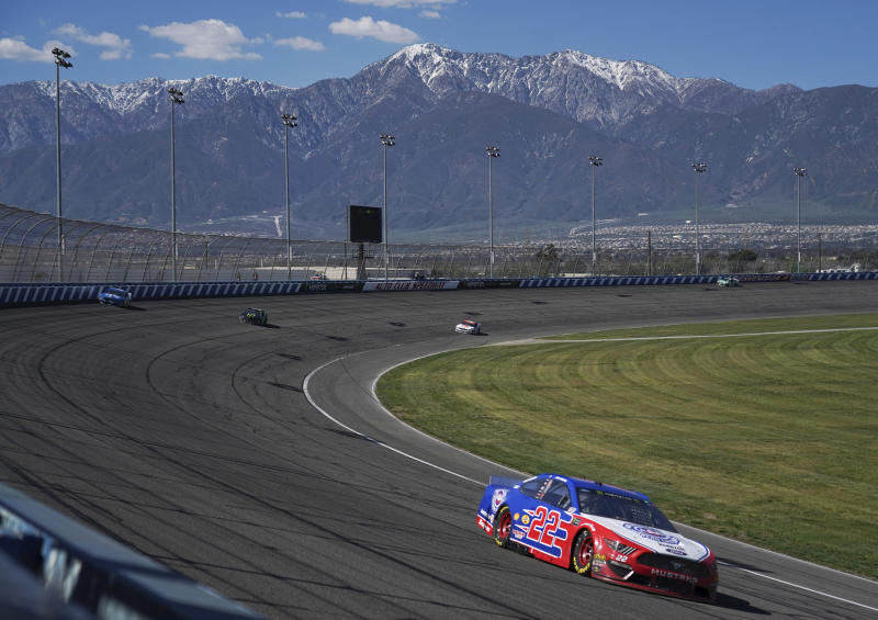 Joey Logano leads during the NASCAR Cup Series auto race at Auto Club Speedway in Fontana, Calif., Sunday, March 17, 2019. Kyle Busch won the race. (AP Photo/Rachel Luna)