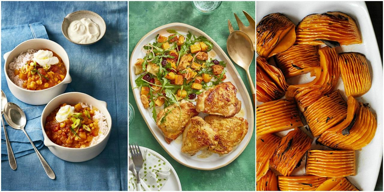 """<p>Come fall, you're ready for cozy, comforting meals—think <a href=""""https://www.womansday.com/food-recipes/food-drinks/g42/fall-soup-recipes/"""" target=""""_blank"""">soups</a>, <a href=""""https://www.womansday.com/food-recipes/food-drinks/g2324/pasta-recipes/"""" target=""""_blank"""">pasta</a>, stews, and other hearty main dishes. Autumn is also prime time for produce, making way for <a href=""""https://www.womansday.com/food-recipes/food-drinks/g1886/amazing-apple-desserts-for-fall/"""" target=""""_blank"""">apples</a>, cauliflower, broccoli, and, of course, butternut squash. </p><p>Although butternut squash recipes may seem intimidating to make, the vegetable's skin is easy to peel with an ordinary peeler. Butternut squash tastes both sweet and earthy, but it's mild enough to complement different spices, such as cinnamon, nutmeg, and ginger. It's also perfect for both savory and sweet dishes. And it's packed full of fiber, potassium, and vitamins, making it a <a href=""""https://www.womansday.com/healthy-recipes/"""" target=""""_blank"""">healthy choice</a> for your family.</p><p>Still need convincing? Check out our collection of butternut squash recipes, all sure to satisfy. From creamy butternut squash soups and hearty appetizers to a flavorful <a href=""""https://www.womansday.com/food-recipes/food-drinks/g16/make-ahead-thanksgiving-dishes-113479/"""" target=""""_blank"""">Thanksgiving side dish</a> and the base for <a href=""""https://www.womansday.com/food-recipes/food-drinks/g2373/vegetarian-recipes/"""" target=""""_blank"""">a filling vegetarian dinner</a>, these butternut squash recipes are perfect in the cooler months. There's really nothing you can't do with this versatile veggie! <br></p>"""