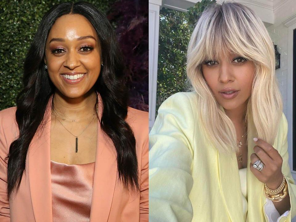 Tia Mowry with long brown hair and Tia Mowry with blonde hair and bangs.