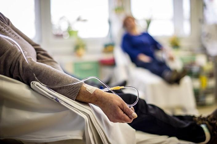 "<span class=""caption"">Chemotherapy and radiotherapy are broad-based treatments which attack the bulk of cancer cells but also damage healthy tissue.</span> <span class=""attribution""><a class=""link rapid-noclick-resp"" href=""https://www.shutterstock.com/image-photo/cancer-patients-receiving-chemotherapy-treatment-hospital-529109200?src=PhgS1fo7VEItjr0JsbMkcQ-1-0"" rel=""nofollow noopener"" target=""_blank"" data-ylk=""slk:Napocska/Shutterstock"">Napocska/Shutterstock</a></span>"
