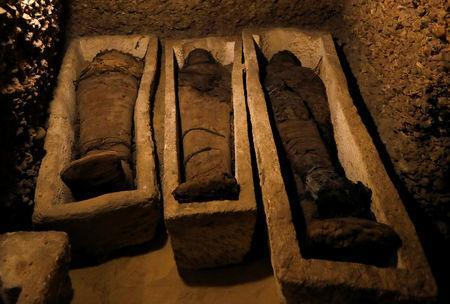 Mummies are seen inside a tomb during the presentation of a new discovery at Tuna el-Gebel archaeological site in Minya Governorate, Egypt, February 2, 2019. REUTERS/Amr Abdallah Dalsh