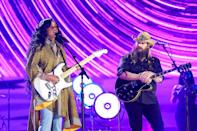 """<p>Stapleton was joined by H.E.R. for a moving performance of the songstress's """"Hold On."""" The pair gave the song a bluesy spin as they rocked out on their guitars. </p>"""