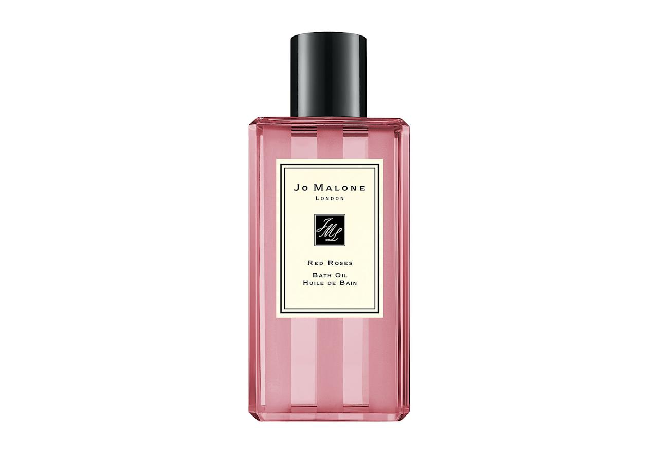 "<p>Red Roses bath oil, <a rel=""nofollow"" href=""https://www.jomalone.co.uk/product/3760/10014/bath-body/bath-oils/light-floral/red-roses-bath-oil""><em>£18 at Jo Malone</em></a> </p>"