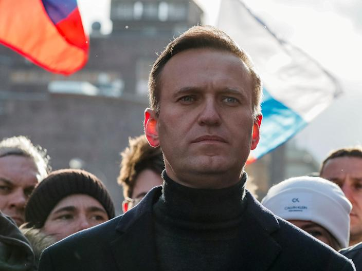 Russian opposition politician Alexei Navalny takes part in rally in Moscow