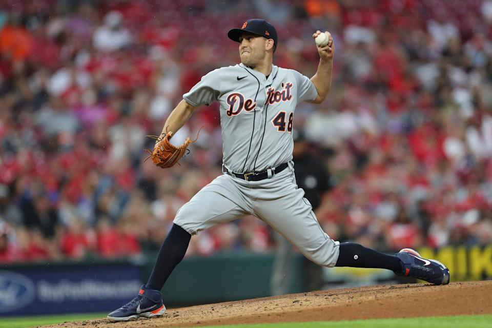 Detroit Tigers starting pitcher Matthew Boyd (48) throws against the Cincinnati Reds during the first inning of a baseball game, Saturday, Sept. 4, 2021, in Cincinnati.