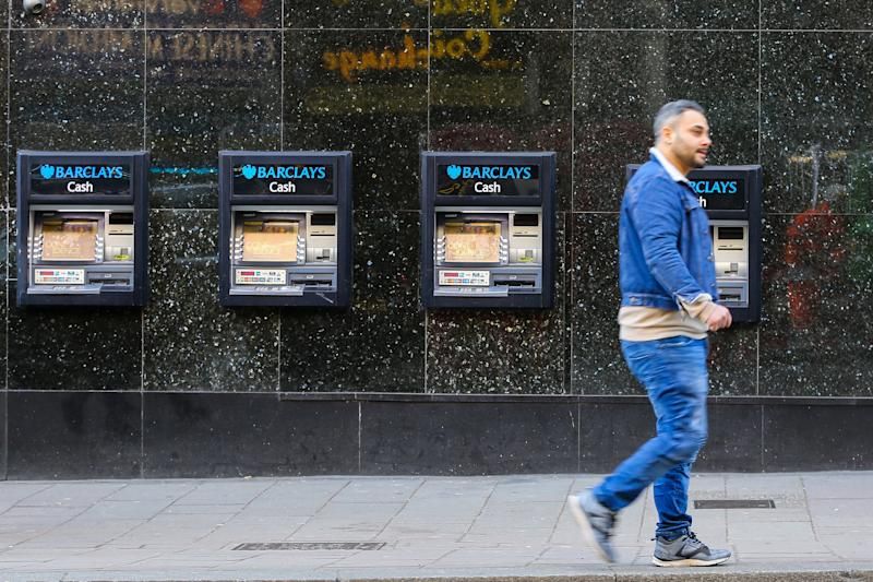 A view of a Barclays Bank ATM machines in central London. (Photo by Dinendra Haria / SOPA Images/Sipa USA)