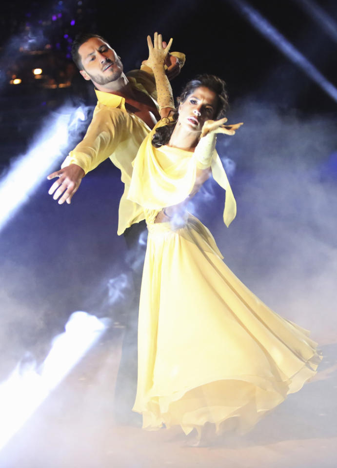 "Valentin Chmerkovskiy and Kelly Monaco perform on ""Dancing With the Stars: All-Stars."""