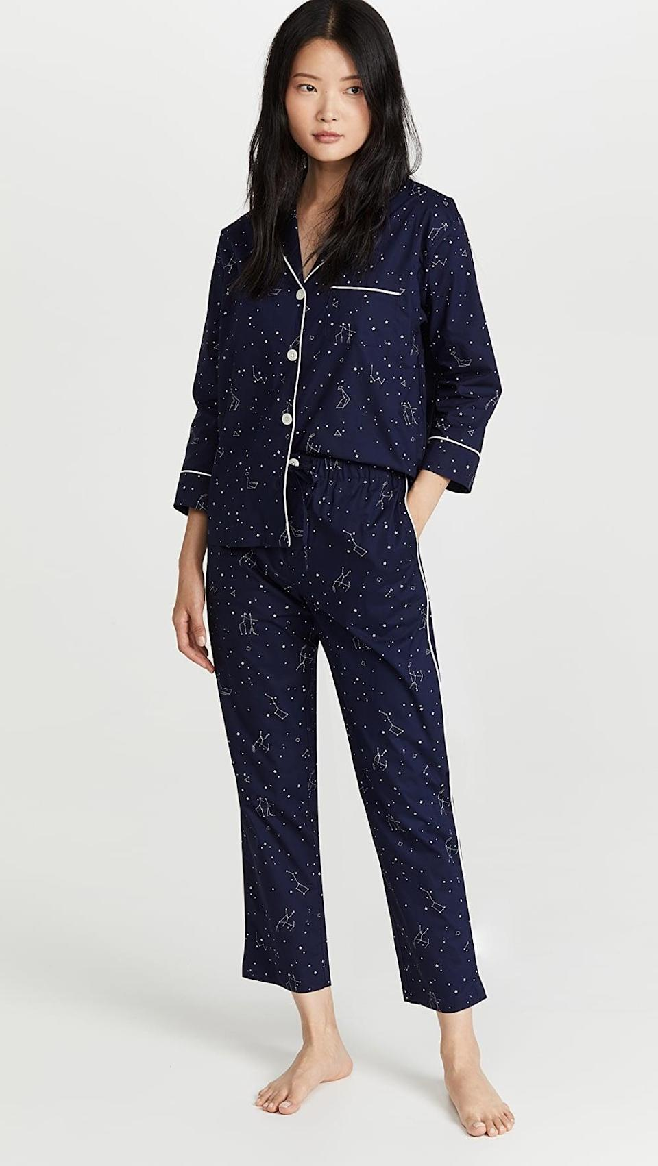 <p>The print on this <span>Sleepy Jones Marina Pajama Set</span> ($198) is so beautiful. The constellations make us smile, and inspire us to have some sweet, starry dreams.</p>