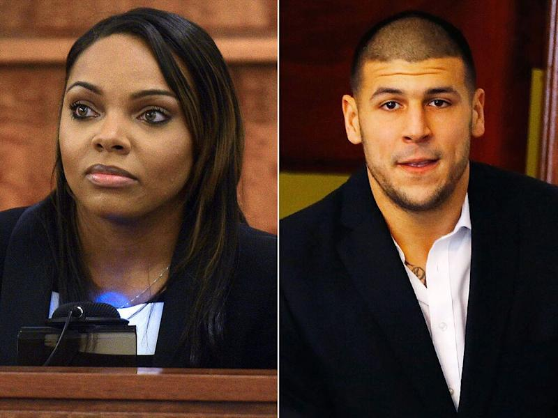 Shayanna Jenkins and Aaron Hernandez | Ted Fitzgerald/Boston Herald/AP; Jared Wickerham/Getty