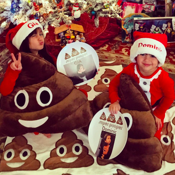 """<p>Lopez shared another pic of his children, who must <i>really</i> love the poop emoji: """"Pretty crappy Christmas…"""" (Photo: <a rel=""""nofollow noopener"""" href=""""https://www.instagram.com/p/BOcokUdjtXF/"""" target=""""_blank"""" data-ylk=""""slk:Instagram"""" class=""""link rapid-noclick-resp"""">Instagram</a>) </p>"""