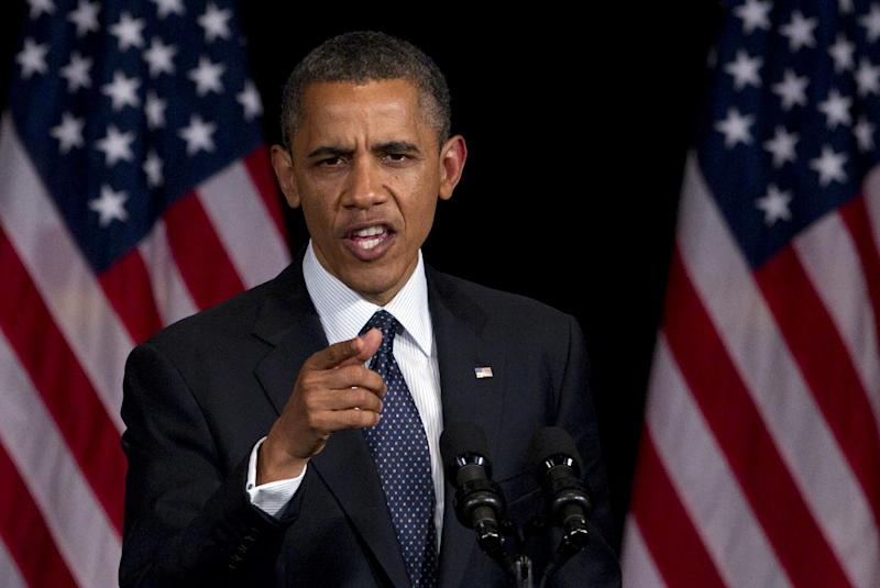 President Barack Obama speaks during a campaign event at the Waldorf Astoria, Monday, June 4, 2012, in New York. (AP Photo/Carolyn Kaster)
