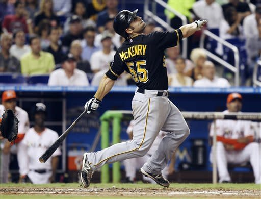 Pittsburgh Pirates' Michael McKenry watches his pop up as he flies out against the Miami Marlins during the second inning of a baseball game in Miami, Tuesday, May 15, 2012. (AP Photo/J Pat Carter)