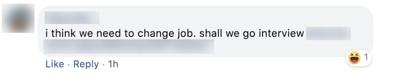 A Facebook comment on Swee Heng's job ad.