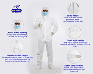 DONY currently offers protective face masks and surgical protective COVID clothing or medical clothing that is disposable. The masks are antibacterial and made of cloth that is washable and reusable. The masks fulfill all necessary standards to provide customers with good quality. DONY's masks can also be produced for wholesale or bulk and can be branded with custom logos.
