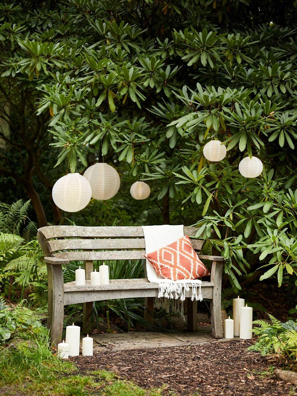 """<p>Have you considered showering your space with <a href=""""https://www.housebeautiful.com/uk/garden/g32577683/garden-lanterns/"""" rel=""""nofollow noopener"""" target=""""_blank"""" data-ylk=""""slk:lanterns"""" class=""""link rapid-noclick-resp"""">lanterns</a>? As well as making your garden glow, they add atmosphere and extend the garden into the sunset. Some are solar powered, while other LED options will need to be situated near a socket. You'll have an Insta-worthy space in no time... </p><p>Pictured: 3 Lucena Cream Tassel Solar Lanterns, £39.99, Lights4Fun</p><p><a class=""""link rapid-noclick-resp"""" href=""""https://www.housebeautiful.com/uk/garden/g32577683/garden-lanterns/"""" rel=""""nofollow noopener"""" target=""""_blank"""" data-ylk=""""slk:READ MORE: THE BEST GARDEN LANTERNS"""">READ MORE: THE BEST GARDEN LANTERNS</a></p>"""